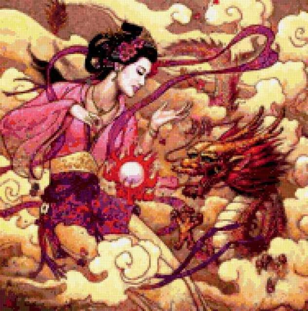 Девушка и дракон, картина,