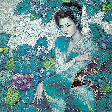 Японка в саду, картина, японка