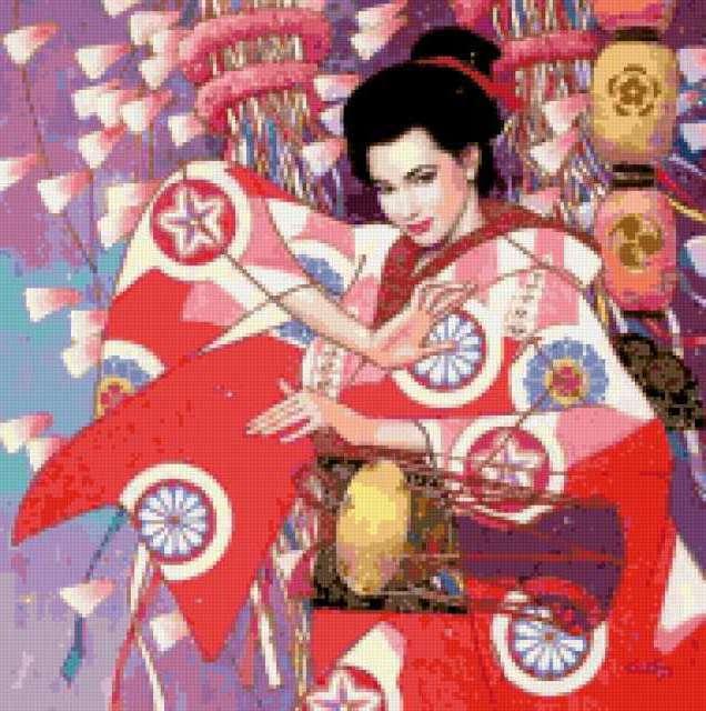 Японка в кимомно, картина,