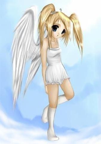 Аниме-ангел, ангел, девочка,