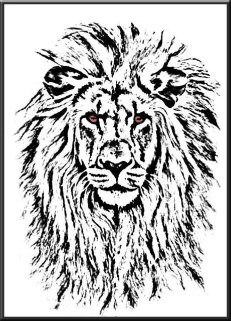 Лев черно белая вышивка