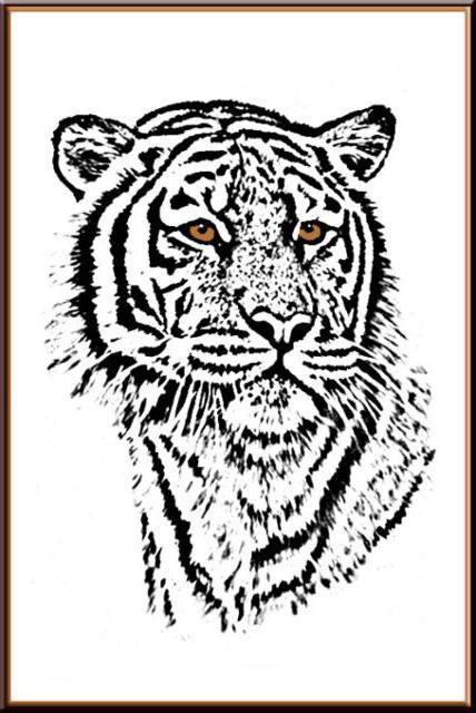 Вышивка тигры монохром