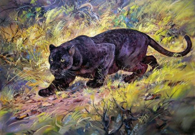 Пантера, кошка, картина