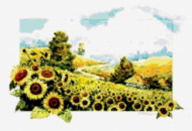 Пейзаж с подсолнухами, картина