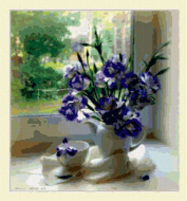 цветы, букет, окно, чашка