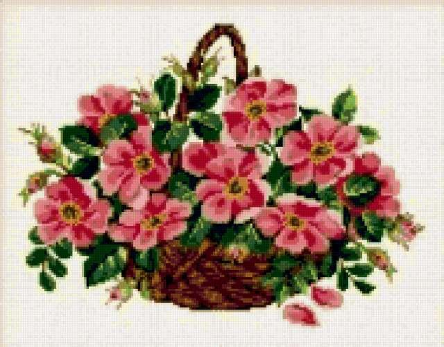 Вышивка схема розы в корзине 9