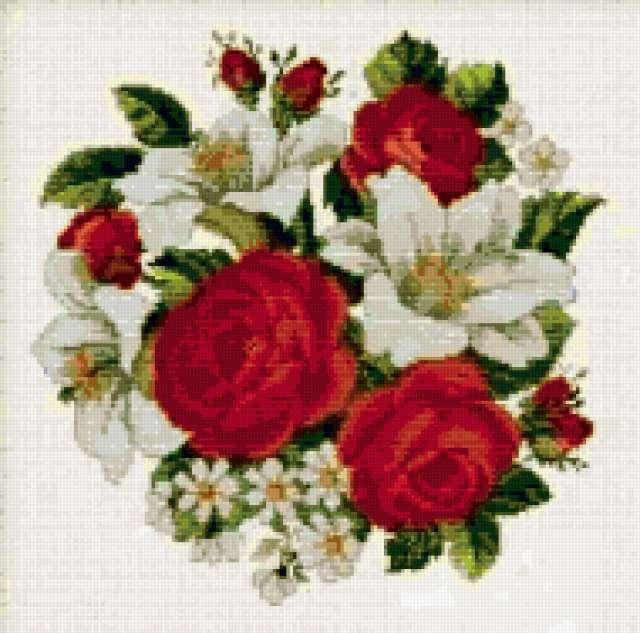 Красные розы,белые лилии,