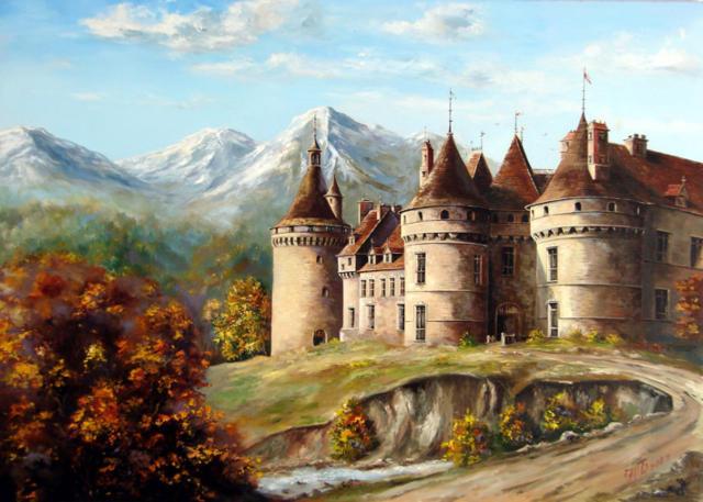 Замок в горах, картина, замок,