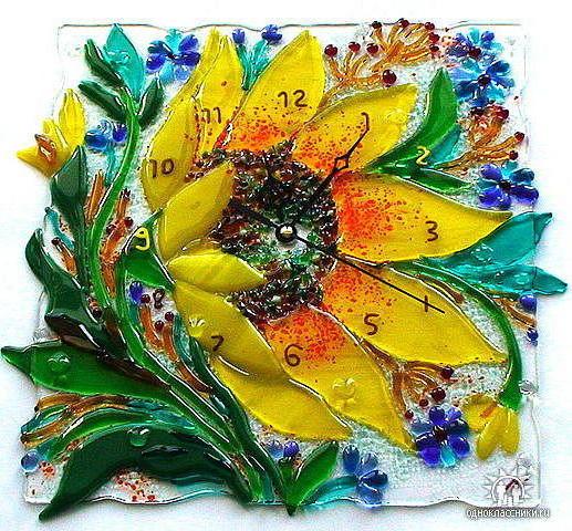 Часы - подсолнух, цветы