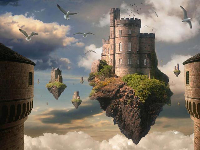 Летающие башни, фэнтези, замки