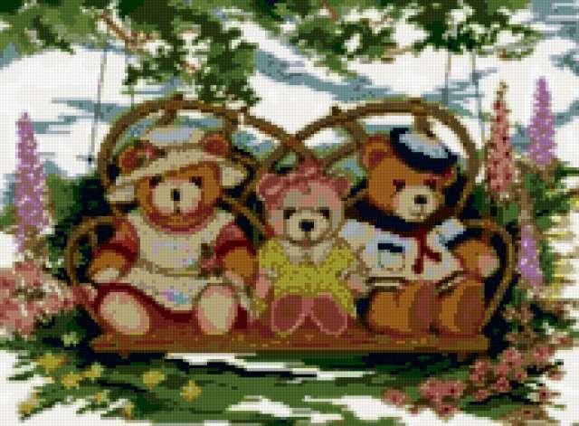 Три медведя на качелях,