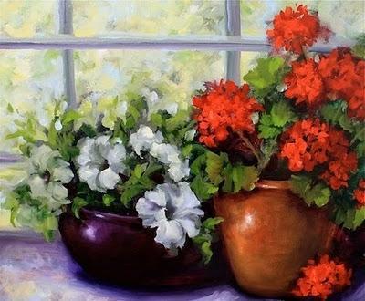Питуния и герань, цветы, ваза,