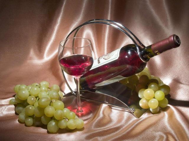 бокал, бутылка, фрукты,