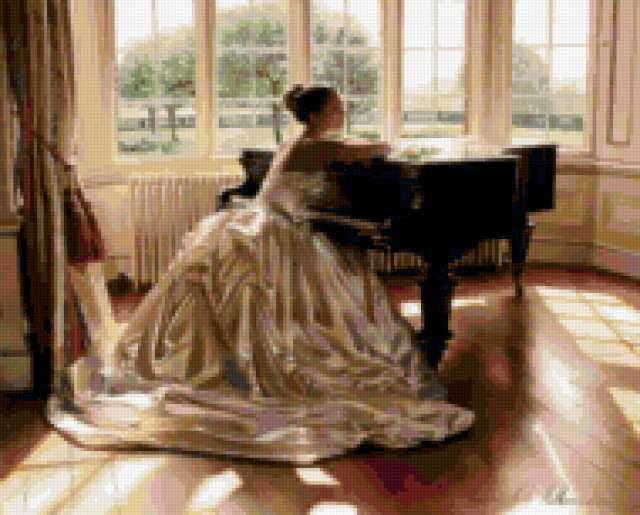 Девушка у рояля, предпросмотр