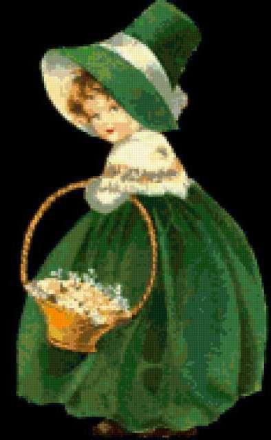 Кукла в зеленом платье,