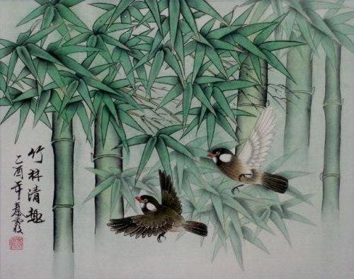 Бамбук и птички, природа