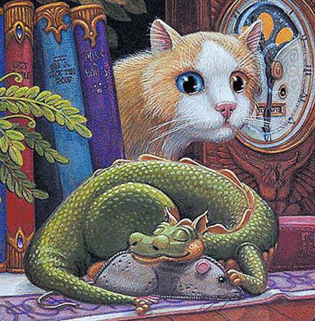 Дракон и кот, дракон, фэнтези,