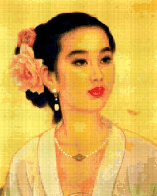 китаянка, девушка, картина