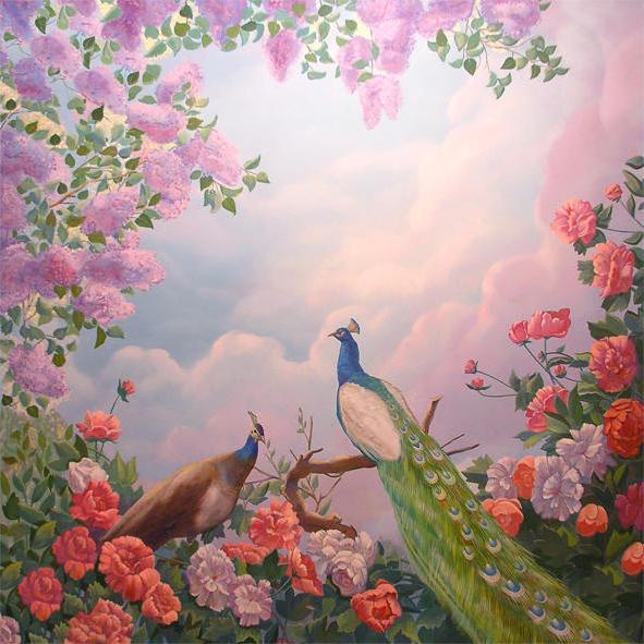Райский сад, картина, цветы,