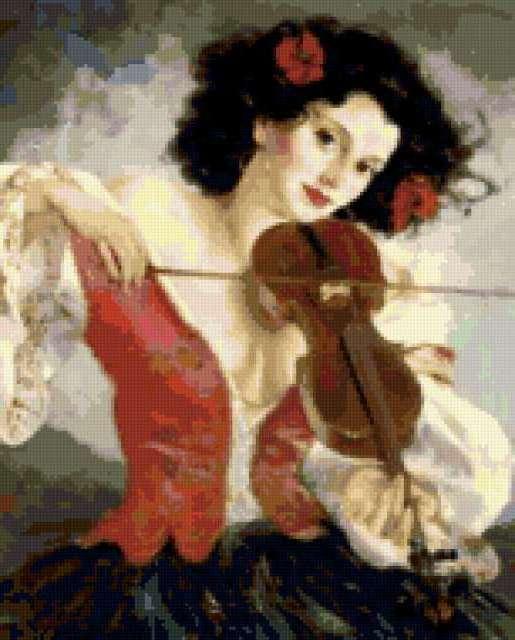 К схеме вышивки «Скрипачка»