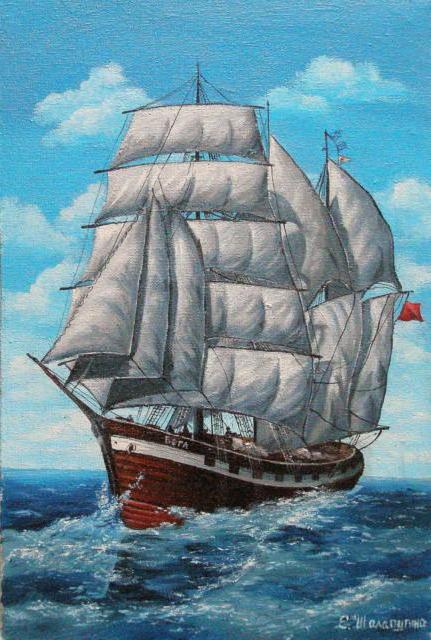 Парусник Вега, море, кеорабль,