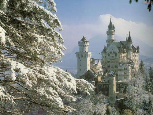 Замок зимой, замки, природа
