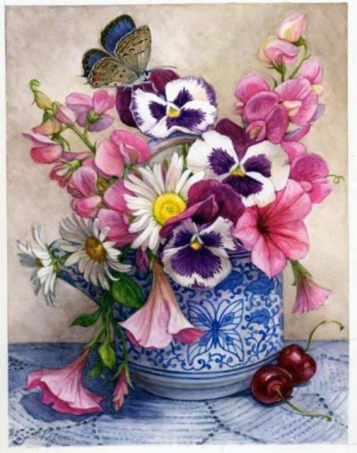 Садовые цветы, цветы, бабочка,
