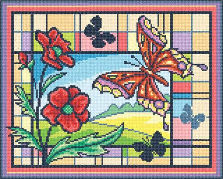 Яркая мозаика, цветы, бабочки