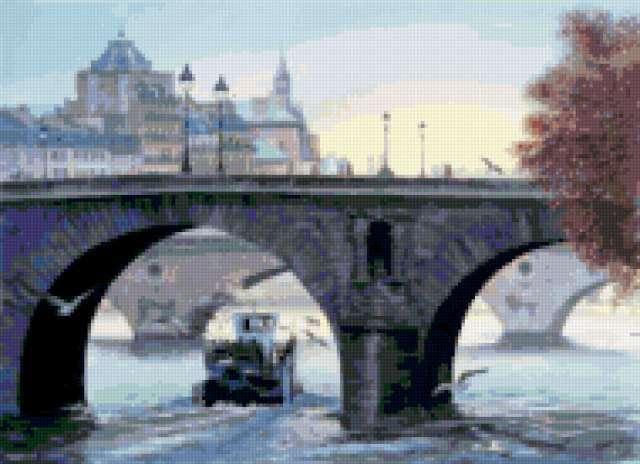 Мосты Парижа, пейзаж, картина