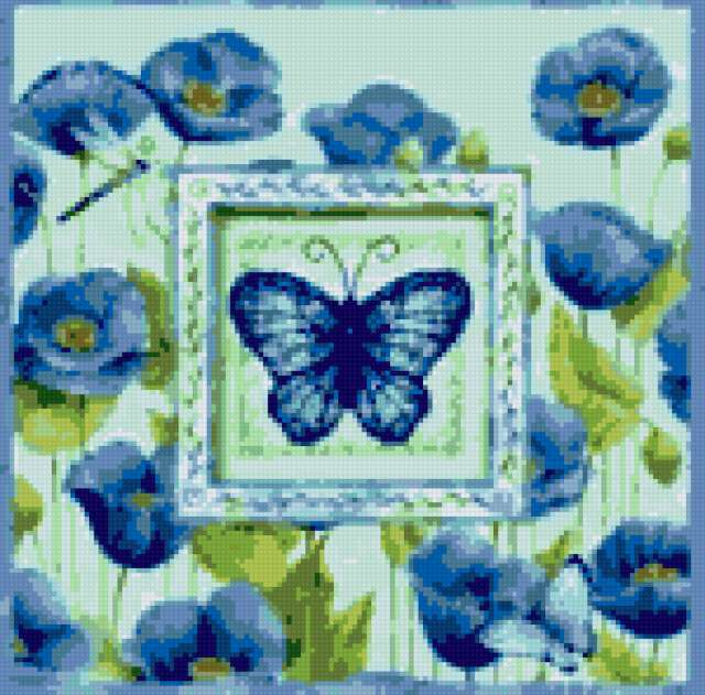 Голубые маки и бабочка,
