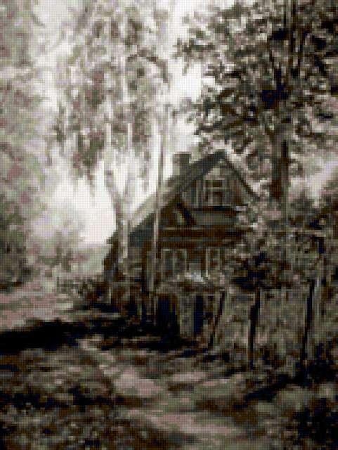 Деревенский пейзаж в карандаше