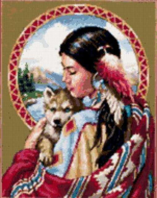 Индейская девушка и волчонок,