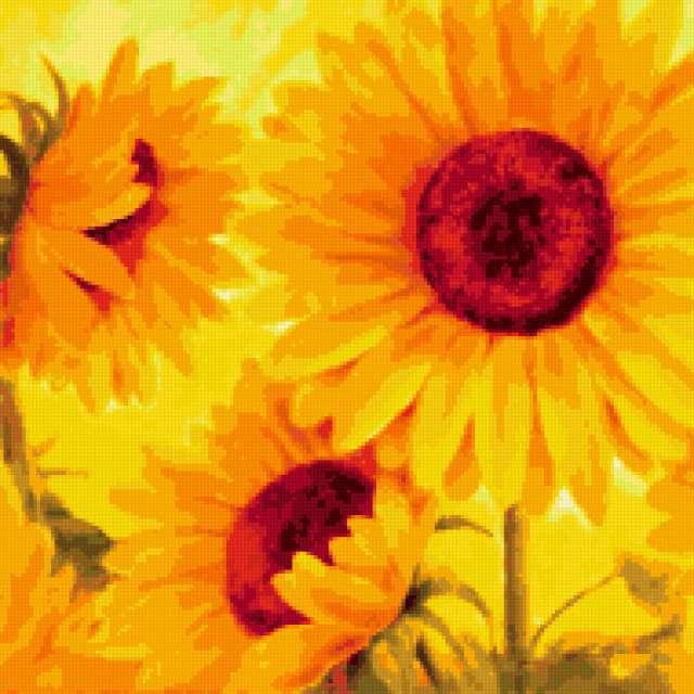 Подсолнухи, подушка, цветы