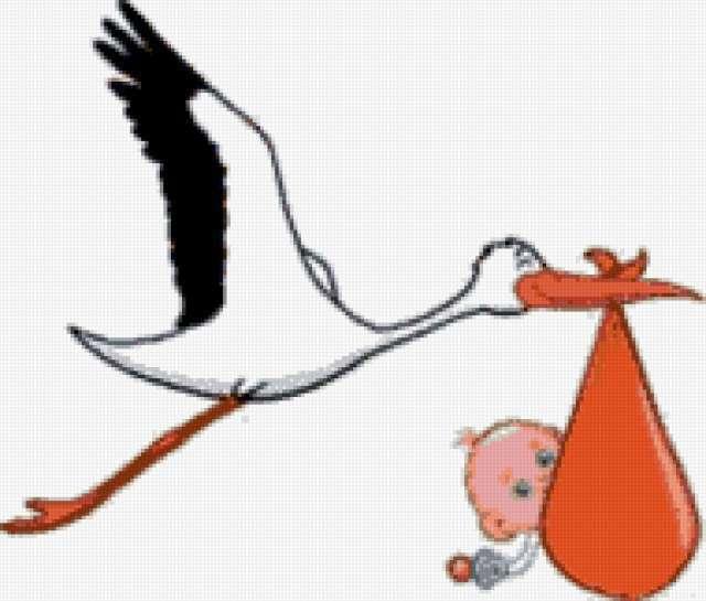 Аист с ребенком, предпросмотр