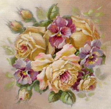 Подушка розы и анютки,