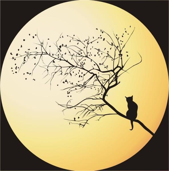 Кот на фоне луны, оригинал