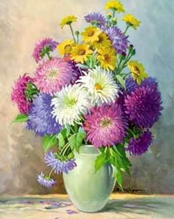 Астры, цветы, ваза, стол
