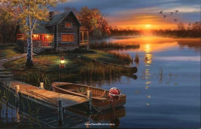 Домик у реки, картина, пейзаж,