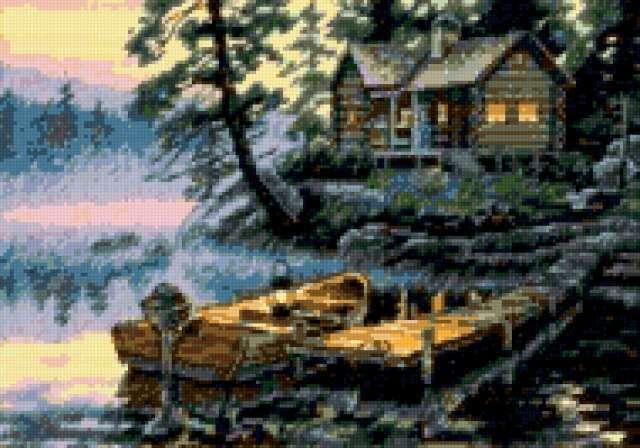 Утро на озере, пейзаж, озеро,