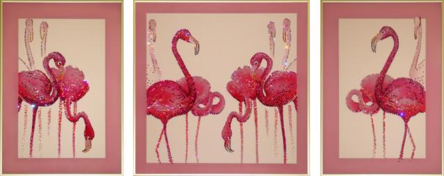 Триптих розовые фламинго