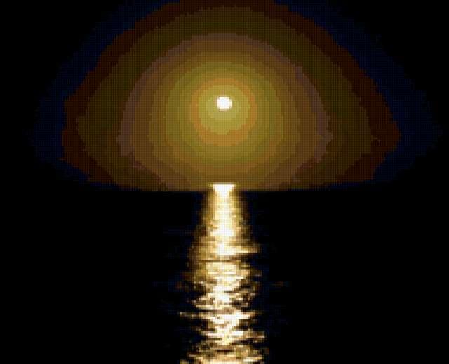 Лунная дорожка, ночь, вода,