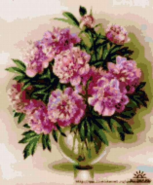 Пионы в вазе, цветы
