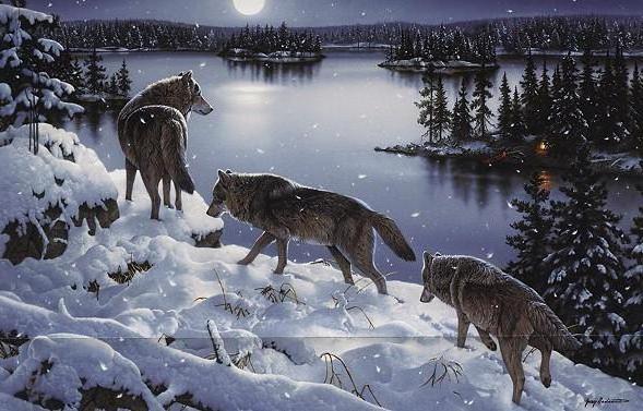 Пейзаж с волками, оригинал