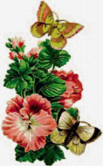 Бабочки и герань, предпросмотр