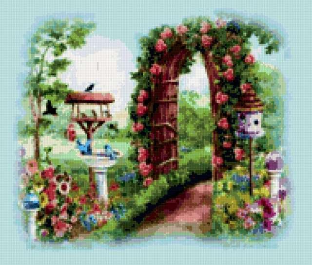 Арка в летнем саду, арка,