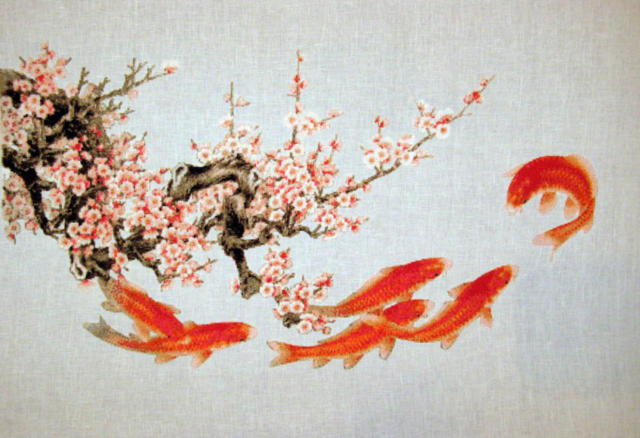 Карпы и сакура, оригинал