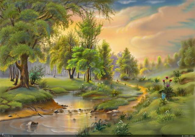 весна, река, рассвет