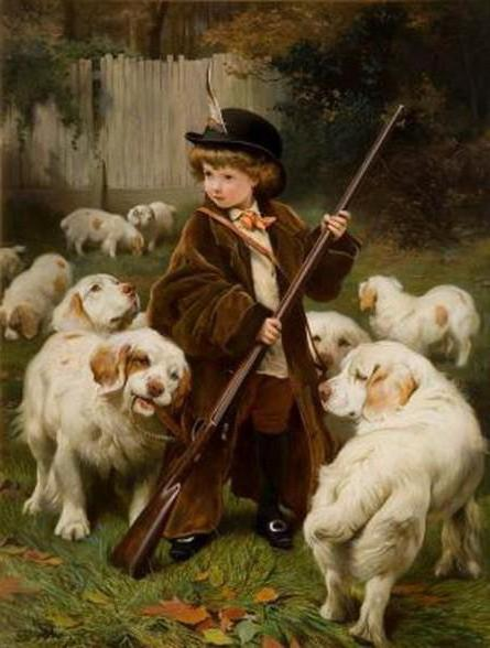 картина, портрет, собаки,