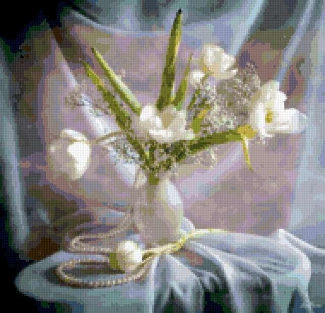 Натюрморт с белыми тюльпанами,