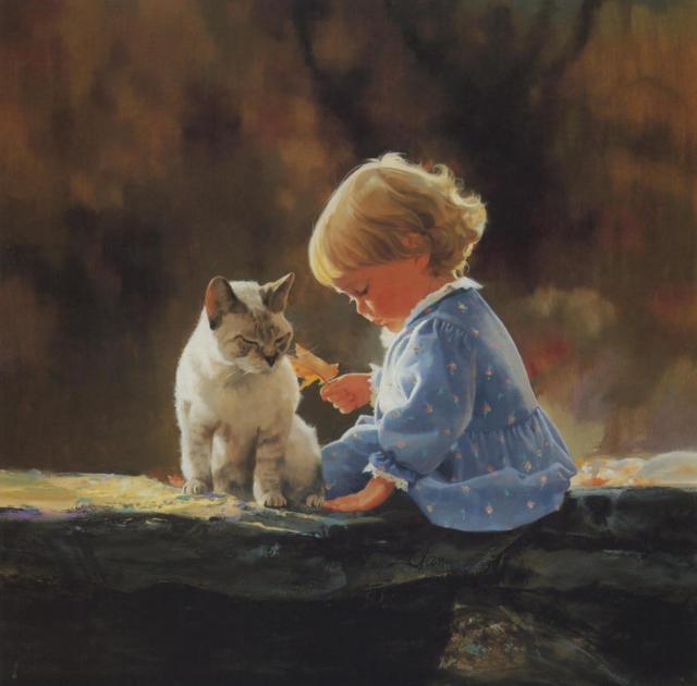 Девочка с котом, ребенок, дети